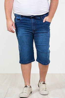 Bermuda jeans com desgaste plus size