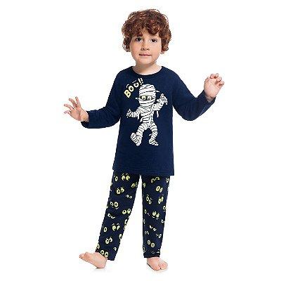 Pijama infantil moletom com estampa brilha no escuro kyly