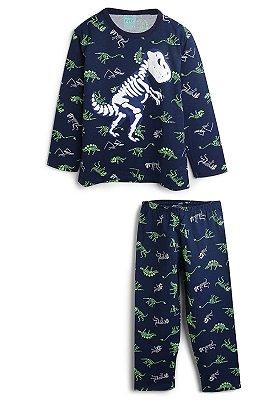 pijama infantil manga longa estampa brilha no escuro