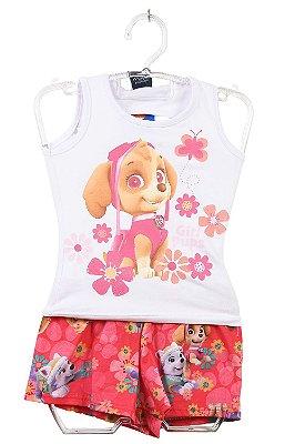 Conjunto blusa e shorts estampa paw patrol