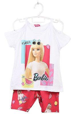 Conjunto blusa ombro vazado com ciclista estampa barbie