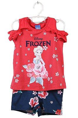 Conjunto infantil blusa ombro vazado e shorts frozen