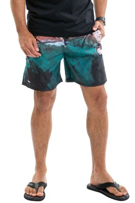 Shorts c/ bolso estampa paisagem