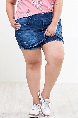 Shorts saia jeans com desgaste plus size