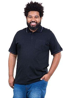 Camisa polo maga curta com bolso  plus size