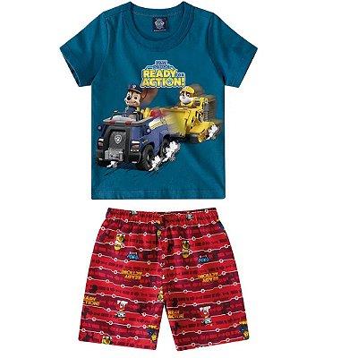 Conjunto camiseta/bermuda infantil paw patrol