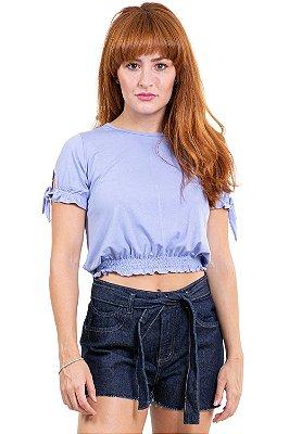 Blusa manga curta barra em lastex