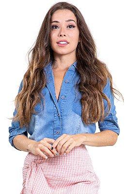 Blusa jeans manga longa com botões