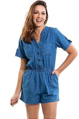 Macaquinho manga curta elástico cintura e bolso
