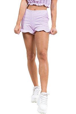 Shorts jacquard vichy com babado