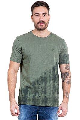 Camiseta manga curta com detalhe manchado