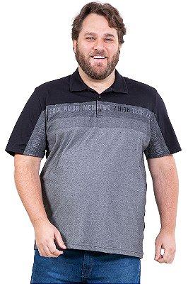 Camisa polo manga curta detalhe recorte plus size