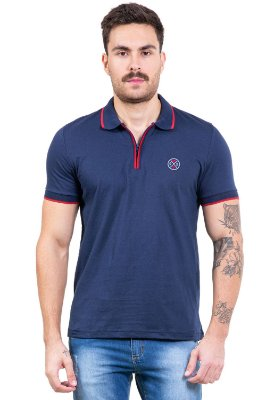 Camisa polo c/ zíper bordado frontal