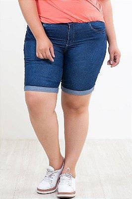 Bermuda jeans ciclista barra virada plus size