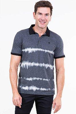 Camisa polo manga curta 3 botões detalhe manchado