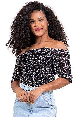 Blusa ombro a ombro detalhe frizado em tule