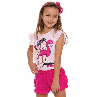 Pijama infantil manga curta turma da mônica verão pop