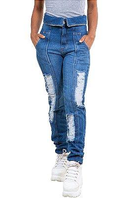 Calça jeans mom  destroyed