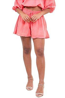 Shorts cós com elástico detalhe bordado