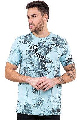 Camiseta manga curta folhagens