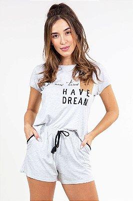 Pijama blusa manga curta com bolso