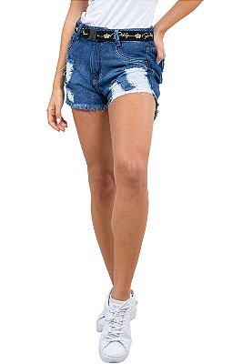 Shorts jeans curto destroyd c/ cinto e barra desfiada