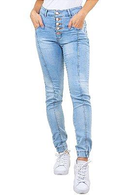 Calça jeans skinny botões e costura frontal