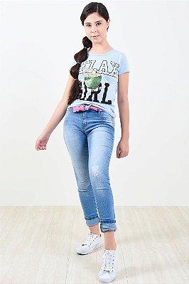 Calça jeans juvenil skinny c/ cinto detalhe barra neon