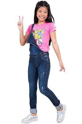 Jardineira jeans juvenil  barra virada