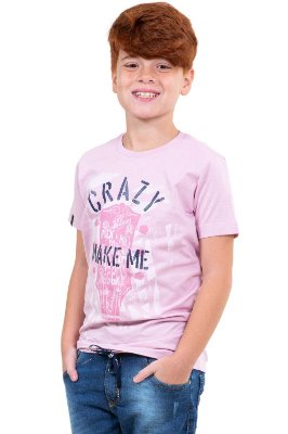 Camiseta juvenil manga curta estampa crazy make me