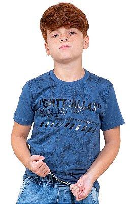 Camiseta juvenil manga curta estampa emborrachada