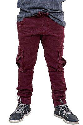 Calça juvenil jogger cós e barra c/ elástico em sarja
