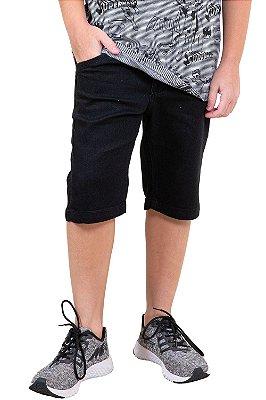 Bermuda juvenil jeans cós c/ regulagem