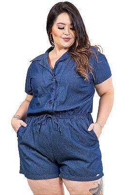 Macaquinho jeans detalhe amarração plus size
