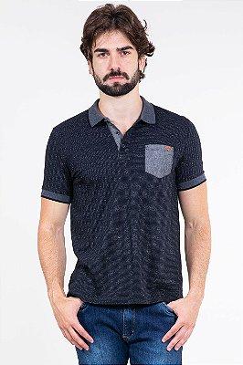 Camisa polo manga curta c/ bolso em malha molinê