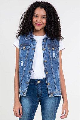 Colete jeans juvenil detalhe bordado