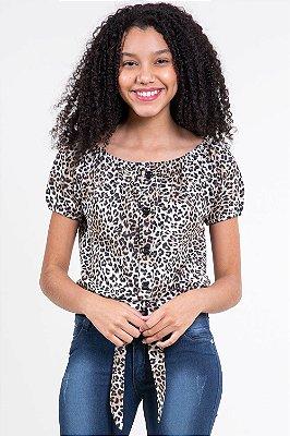 Blusa juvenil ombro a ombro c/ amarração