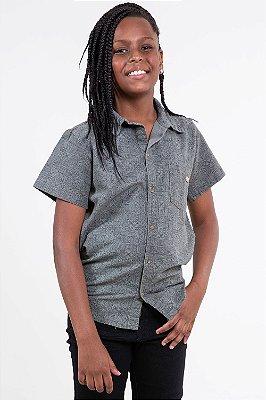 Camisa polo manga curta em sarja