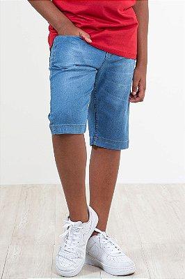 Bermuda jeans juvenil cós c/ regulagem interno e cinto