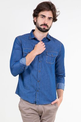 Camisa jeans manga longa slim fit