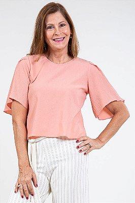 Blusa manga curta gola redonda