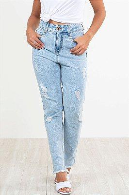 Calça jeans moom barra desfiada