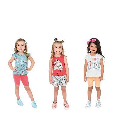 Kit 3 conjuntos infantil menina verão