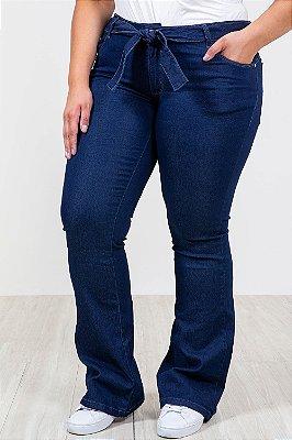 Cala jeans flare com amarração na frente