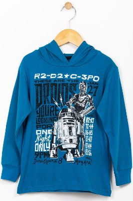 Camiseta infantil manga longa com capuz Star Wars