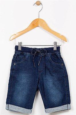 Bermuda jeans infantil com barra virada