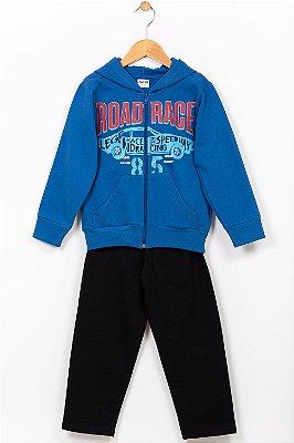 Conjunto moletom infantil jaqueta com capuz e calça Fakini