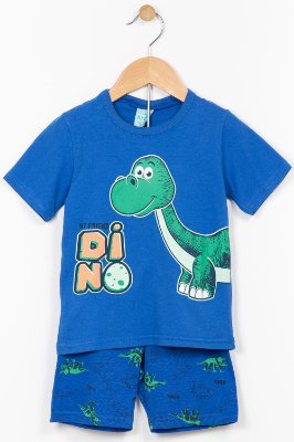 Pijama infantil camiseta e bermuda brilha no escuro Kyly