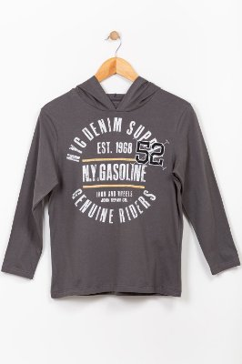 Camiseta juvenil manga longa com capuz Fakini