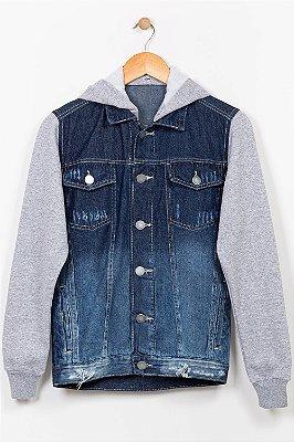 Jaqueta jeans juvenil com capuz removível